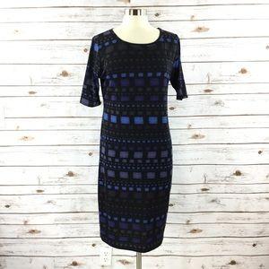 LuLaRoe Julia Black and Blue Dress
